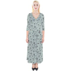 Telephone Lines Repeating Pattern Quarter Sleeve Wrap Maxi Dress by Sudhe
