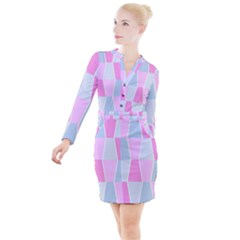 Geometric Pattern Design Pastels Button Long Sleeve Dress by Sudhe