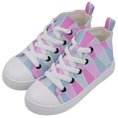Geometric Pattern Design Pastels Kids  Mid Top Canvas Sneakers by Sudhe