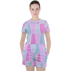Geometric Pattern Design Pastels Women s Tee And Shorts Set