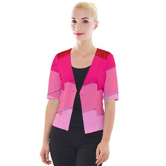 Geometric Shapes Magenta Pink Rose Cropped Button Cardigan