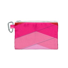 Geometric Shapes Magenta Pink Rose Canvas Cosmetic Bag (small)
