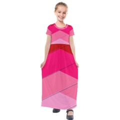 Geometric Shapes Magenta Pink Rose Kids  Short Sleeve Maxi Dress by Sudhe