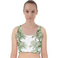 Trees Tile Horizonal Velvet Racer Back Crop Top