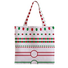 Christmas Borders Frames Holiday Zipper Grocery Tote Bag