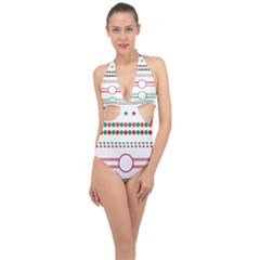 Christmas Borders Frames Holiday Halter Front Plunge Swimsuit