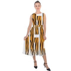 Tiger Bstract Animal Art Pattern Skin Midi Tie Back Chiffon Dress