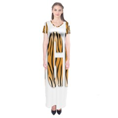 Tiger Bstract Animal Art Pattern Skin Short Sleeve Maxi Dress