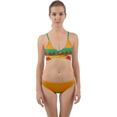 Burger Bread Food Cheese Vegetable Wrap Around Bikini Set by Sudhe