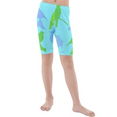 Bird Watching   Light Blue Green  Kids  Mid Length Swim Shorts