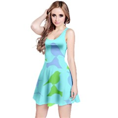 Bird Watching   Light Blue Green  Reversible Sleeveless Dress