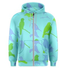 Bird Watching   Light Blue Green  Men s Zipper Hoodie