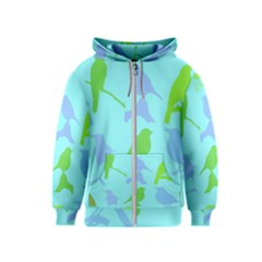 Bird Watching   Light Blue Green  Kids  Zipper Hoodie