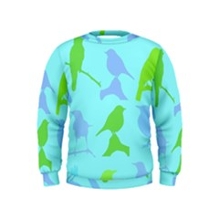 Bird Watching   Light Blue Green  Kids  Sweatshirt