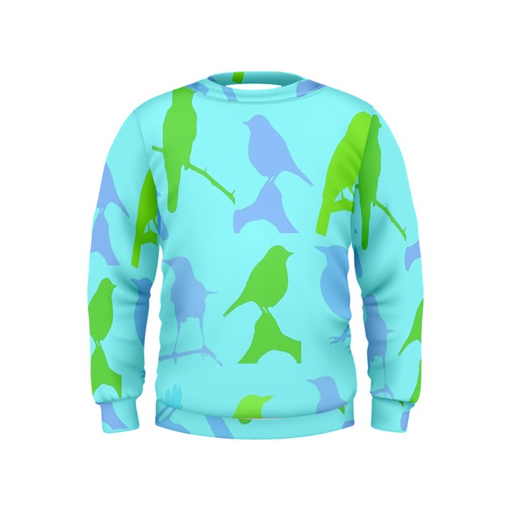 Bird Watching - Light Blue Green- Kids  Sweatshirt