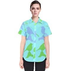 Bird Watching   Light Blue Green  Women s Short Sleeve Shirt