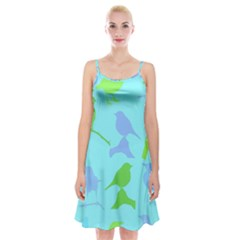 Bird Watching   Light Blue Green  Spaghetti Strap Velvet Dress
