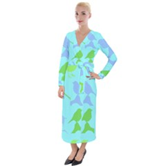 Bird Watching   Light Blue Green  Velvet Maxi Wrap Dress
