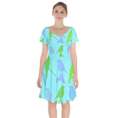 Bird Watching   Light Blue Green  Short Sleeve Bardot Dress