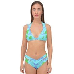 Bird Watching   Light Blue Green  Double Strap Halter Bikini Set