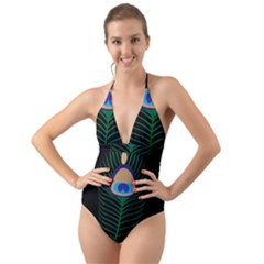 Peacock Feather Halter Cut Out One Piece Swimsuit