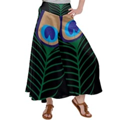 Peacock Feather Satin Palazzo Pants by Sudhe