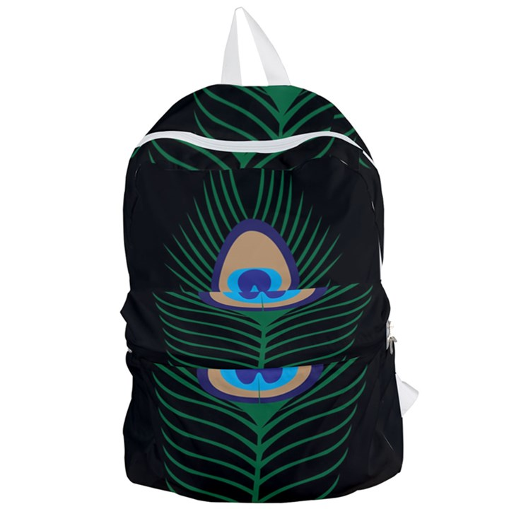 Peacock Feather Foldable Lightweight Backpack