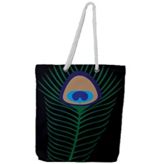Peacock Feather Full Print Rope Handle Tote (large)