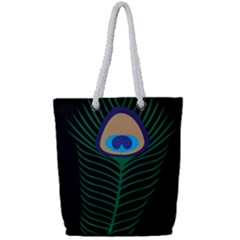 Peacock Feather Full Print Rope Handle Tote (small)