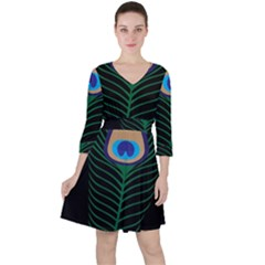 Peacock Feather Ruffle Dress