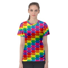 Rainbow 3d Cubes Red Orange Women s Sport Mesh Tee