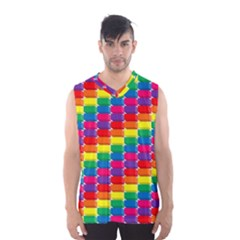 Rainbow 3d Cubes Red Orange Men s Basketball Tank Top
