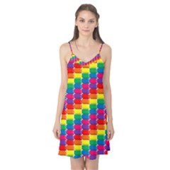 Rainbow 3d Cubes Red Orange Camis Nightgown