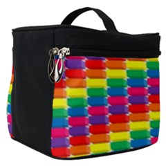 Rainbow 3d Cubes Red Orange Make Up Travel Bag (small)