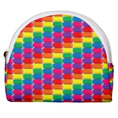 Rainbow 3d Cubes Red Orange Horseshoe Style Canvas Pouch