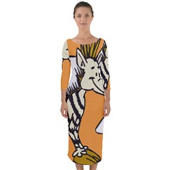 Zebra Animal Alphabet Z Wild Quarter Sleeve Midi Bodycon Dress