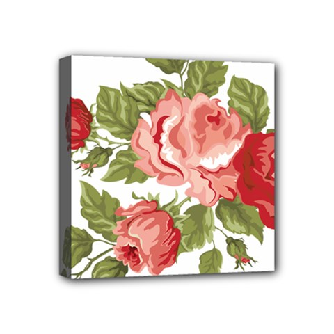 Flower Rose Pink Red Romantic Mini Canvas 4  X 4  (stretched)