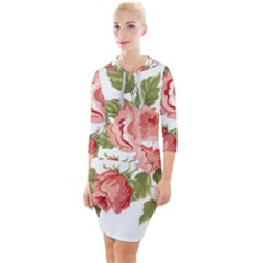 Flower Rose Pink Red Romantic Quarter Sleeve Hood Bodycon Dress by Sudhe