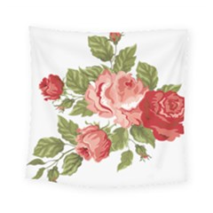 Flower Rose Pink Red Romantic Square Tapestry (small) by Sudhe