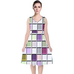 Color Tiles Abstract Mosaic Background V Neck Midi Sleeveless Dress