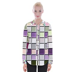 Color Tiles Abstract Mosaic Background Womens Long Sleeve Shirt