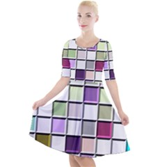 Color Tiles Abstract Mosaic Background Quarter Sleeve A Line Dress