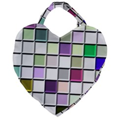 Color Tiles Abstract Mosaic Background Giant Heart Shaped Tote
