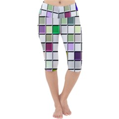 Color Tiles Abstract Mosaic Background Lightweight Velour Cropped Yoga Leggings