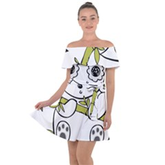 Panda China Chinese Furry Off Shoulder Velour Dress