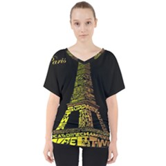 The Eiffel Tower Paris V Neck Dolman Drape Top