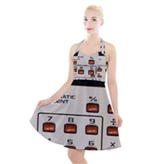 Vintage Calculator Halter Party Swing Dress