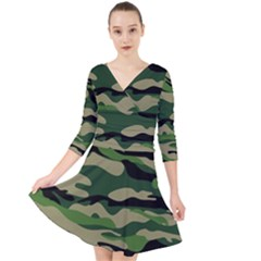 Green Military Vector Pattern Texture Quarter Sleeve Front Wrap Dress