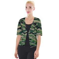 Green Military Vector Pattern Texture Cropped Button Cardigan
