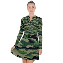 Green Military Vector Pattern Texture Long Sleeve Panel Dress